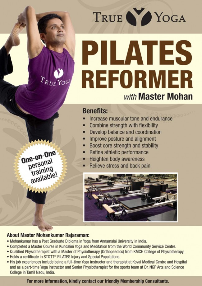 True Yoga Current Promotion. Pilates Reformer with Master Mohan
